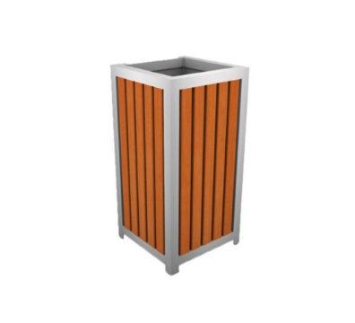 basurero metal madera